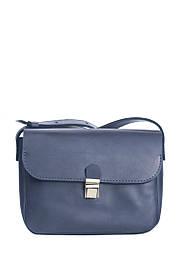 Маленькая кожаная сумочка на плечо Синий