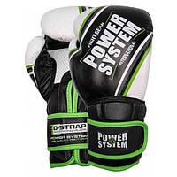 Перчатки Power System Boxing Gloves PS-5006 12oz black/green СТОК, фото 1