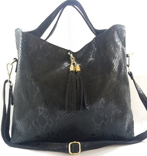 Прекрасная женская сумка из натуральной кожи графитового цвета
