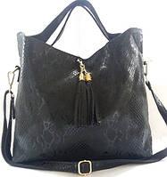 Прекрасная женская сумка из натуральной кожи графитового цвета, фото 1