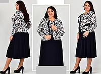Платье женское свободного кроя с имитацией жакета, с 54 по 74 размер, фото 1