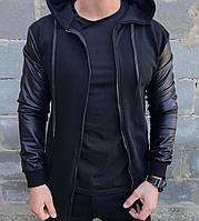 Бомбер курточка мужская с капюшоном весенняя осенняя с рукавами из экокожи, цвет черный