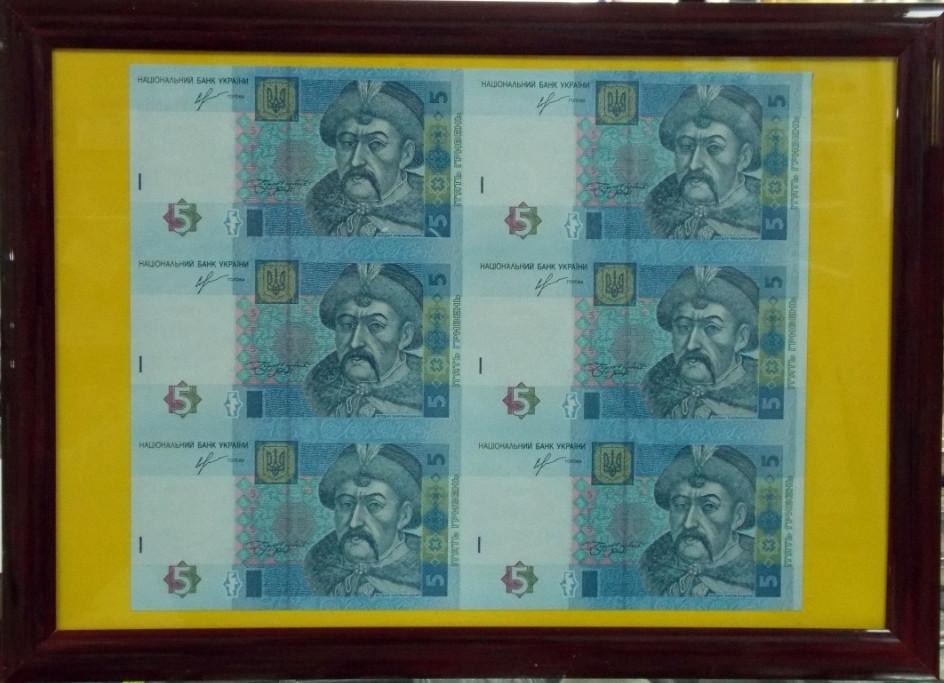Подарочное панно с банкнотой Украины 5 гривен