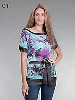 Блузка атласная с поясом голубо-сиреневая, фото 1