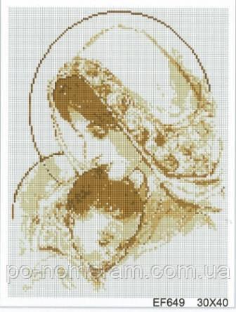 Алмазная мозаика Алмазна мозаїка Мадонна с младенцем (DEF007) 30 х 40 см (Без подрамника)