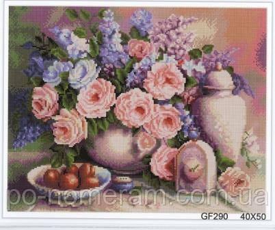 Алмазная живопись Алмазна мозаїка Розы и фрукты (DGF001) 40 х 50 см (Без подрамника)