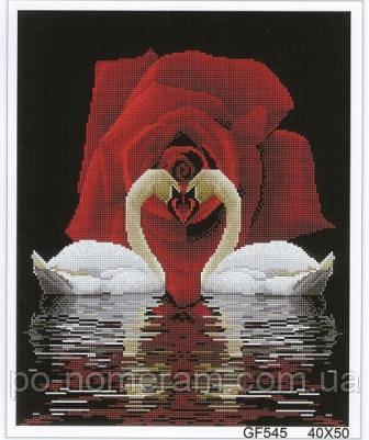 Набор алмазная мозаика Алмазна мозаїка Роза и лебеди (DGF006) 40 х 50 см (Без подрамника)