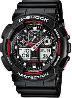 Часы спортивные мужские Casio G-Shock ga-100 черные с красным, фото 1