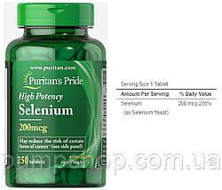 Селен Puritan's Pride Selenium 200 mcg 100 капс., фото 2