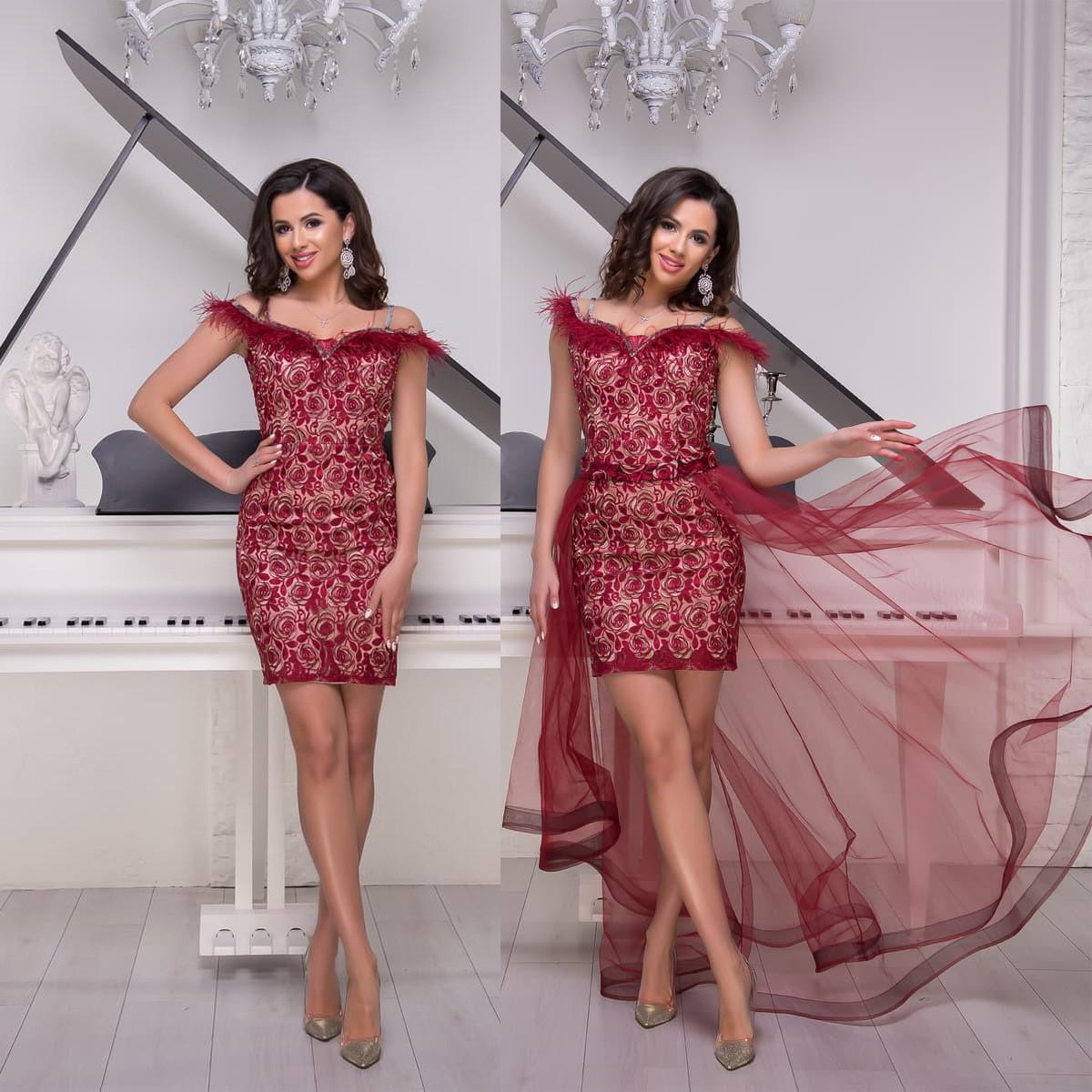 """Бордовое кружевное вечернее платье-трансформер """"Империя гранд"""""""