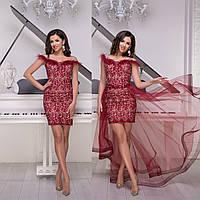"""Бордовое кружевное вечернее платье-трансформер """"Империя гранд"""", фото 1"""