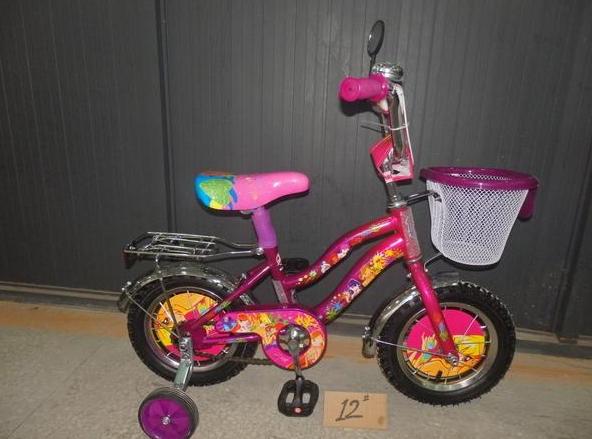 Двухколесный велосипед 12 дюймов  Mustang WINX фиолетовый с корзинкой ***