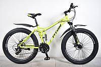 """Велосипед Titan Apache 29*3"""" двухподвесный Yellow"""