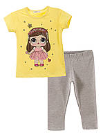 Комплект для девочки 10850 (Серый с желтым  98)