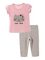 Комплект для девочки 12354 (Розовый с серым  92)