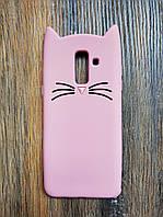 Объемный 3d силиконовый чехол для Samsung J8 Galaxy J810 Усатый кот розовый
