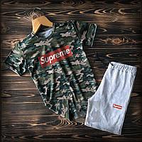 Летний спортивный костюм Supreme Хаки (Суприм) шорты и футболка хлопок