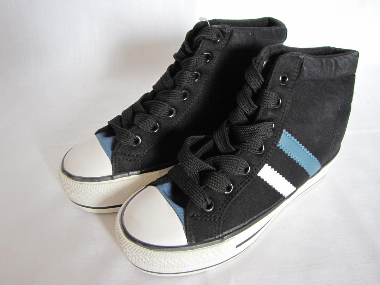 Кеды размер 37 черные+голубые 09019/03