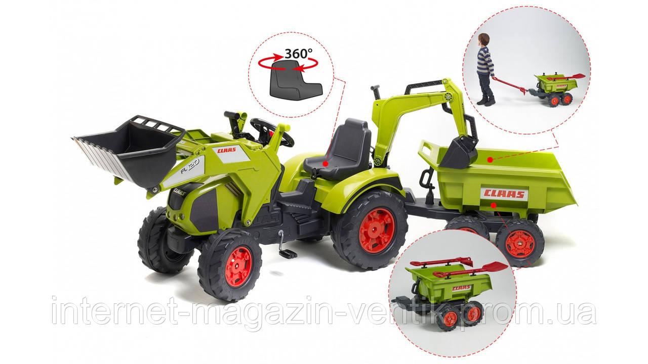 Детский трактор на педалях Falk 1010WH Claas Axos