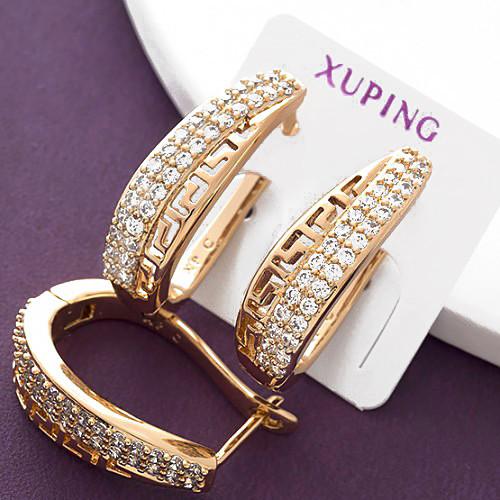 Серьги Xuping длина 2.3см цирконий медицинское золото позолота 18К с799