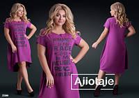 Асимметричное женское платье- футболка