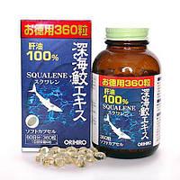 Масло печени акулы, Orihiro, Squalene, Япония, 360 капсул
