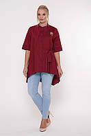 Стильная рубашка-трапеция из однотонной натуральной хлопковой ткани ассиметричного кроя с 52 по 58 размер