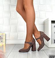 Женские замшевые туфли на  устойчивом каблуке , фото 1