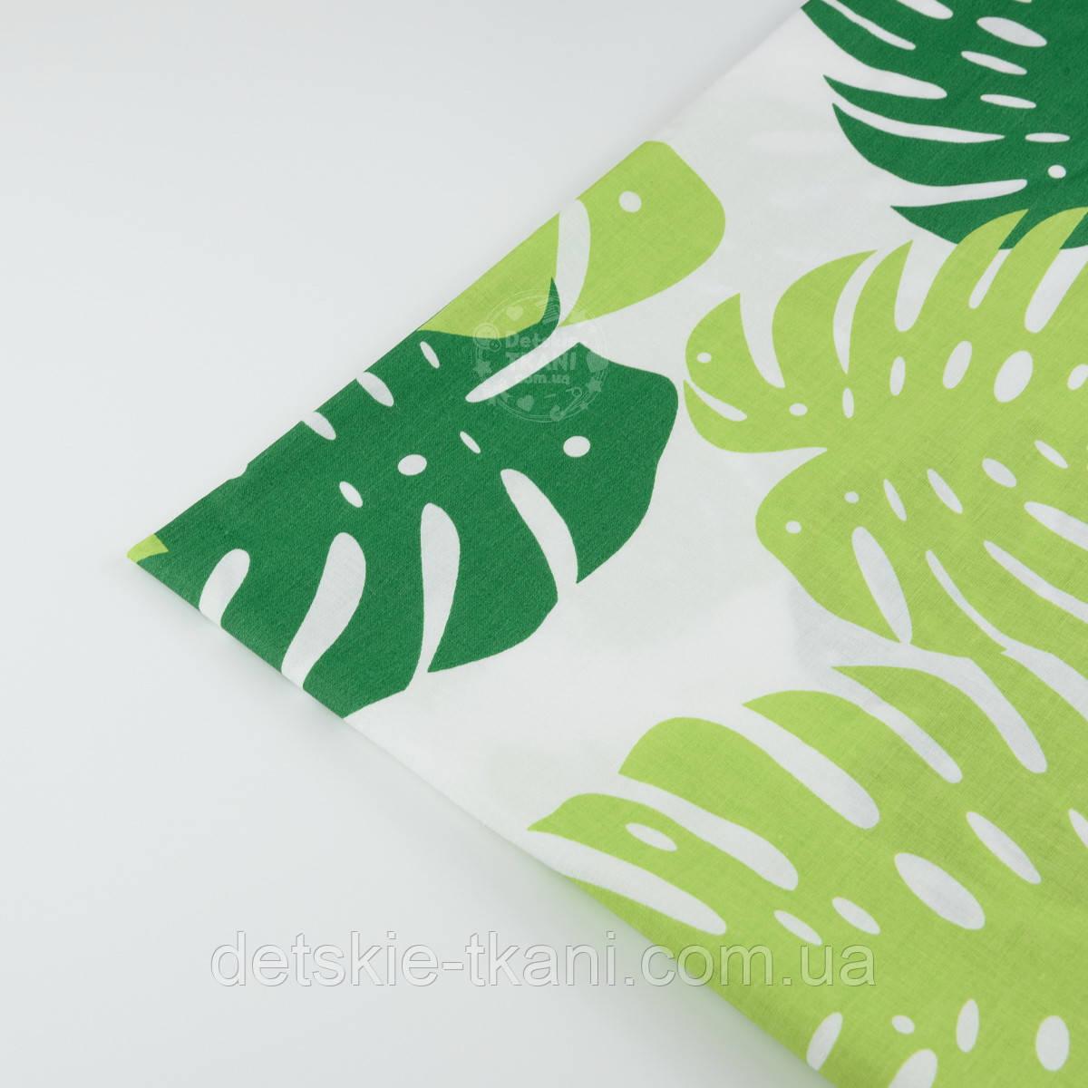 """Лоскут ткани """"Большие листья монстеры"""" светлые и тёмно-зелёные на белом №1337а"""