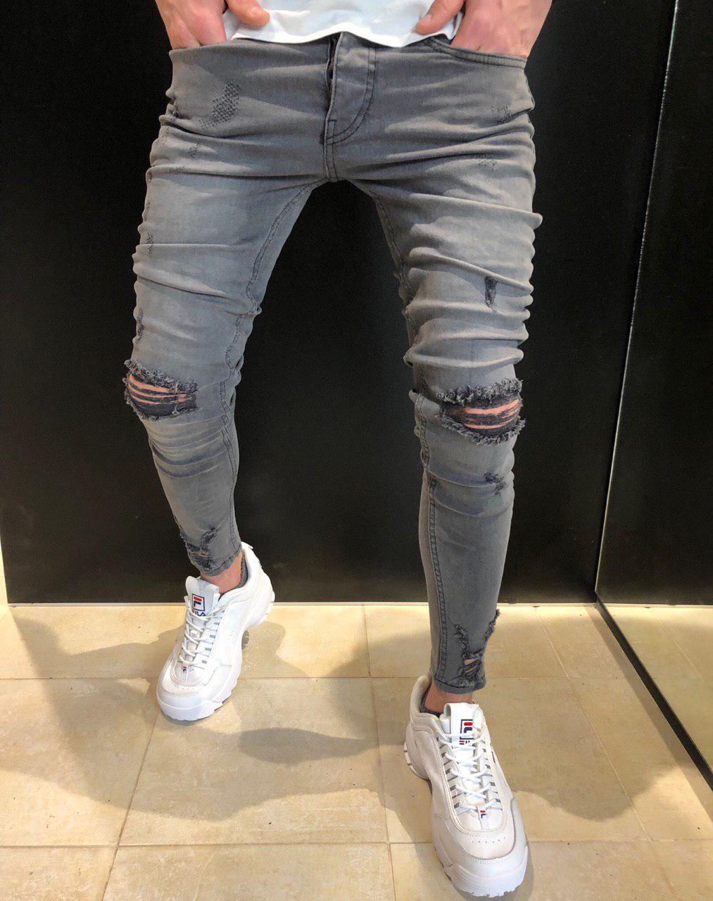 745fb21fee7 Мужские узкие рваные серые джинсы