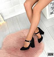 Женские туфли на каблуке Натуральная замша, фото 1