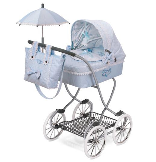 """Коляска  классическая с зонтиком для куклы """"Кэрол"""" DeCuevas 80222 высота 90 см"""