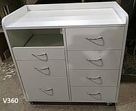 Белая тумба с ящиками и двойной розеткой Модель V360