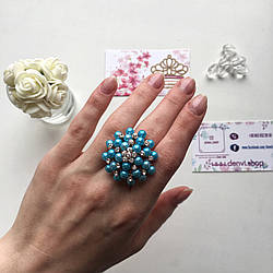Нежное кольцо «Джина» голубого цвета, позолоченное.