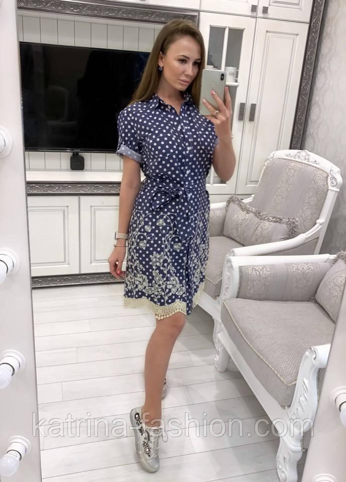 Женское джинсовое платье с поясом и с вышивкой