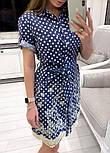 Женское джинсовое платье с поясом и с вышивкой, фото 2