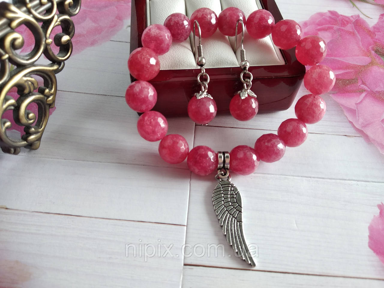 Комплект из граненого розового турмалина - браслет и серьги