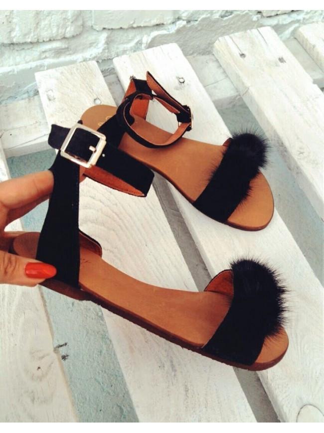 Женские сандалии из натуральной замши черного цвета VISONE BLACK