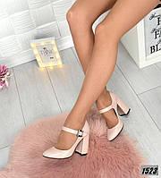 Женские туфли на устойчивом каблуке Натуральная кожа