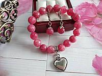 Комплект из граненого розового турмалина с подвеской сердце