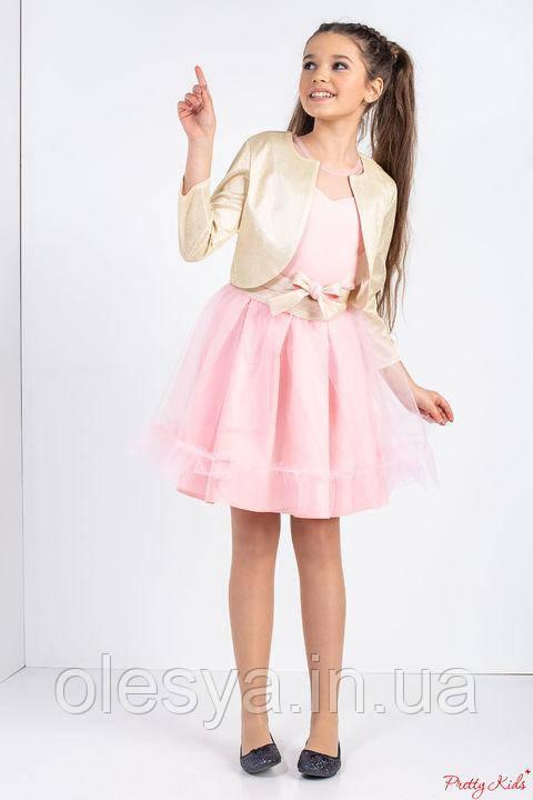 Нарядный комплект: платье и болеро на девочку Арина Размеры 134 - 152