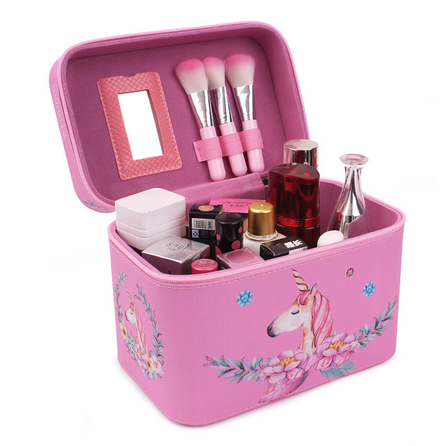 Кейс для косметики розовый с Единорогом