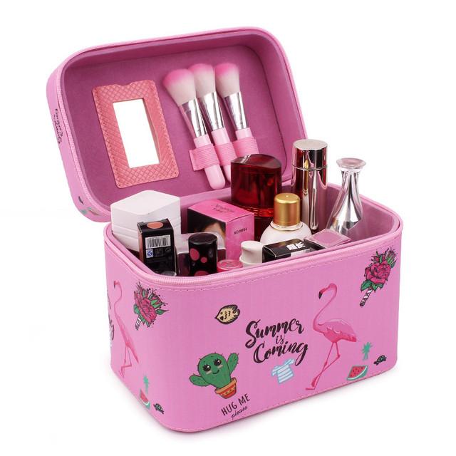 Кейс для косметики розовый с Фламинго
