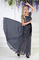 Узумительное длинное платье макси из шифона в горох