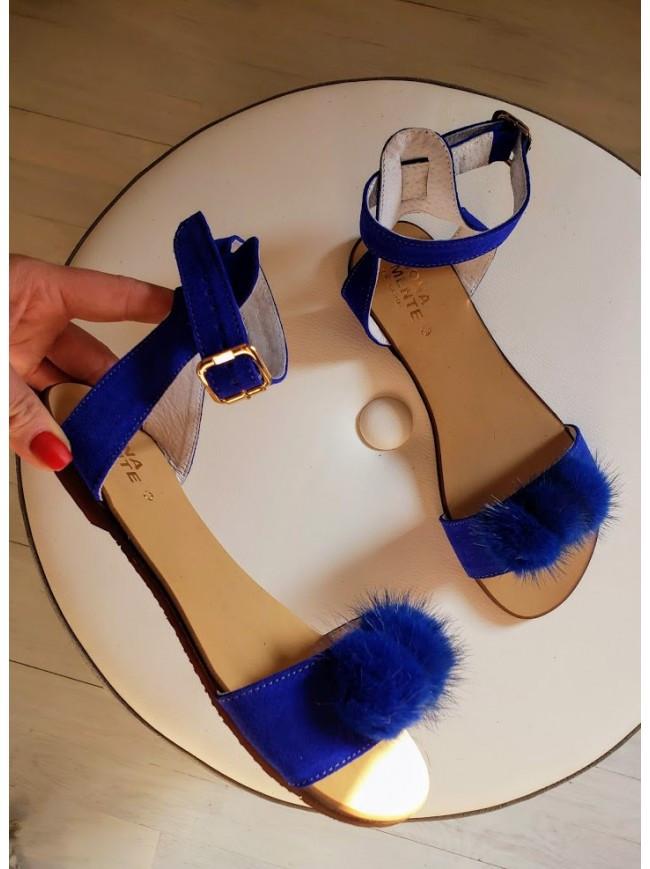 Женские сандалии из натуральной замши синего цвета VISONE ELEKTRIC