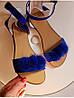 Женские сандалии из натуральной замши синего цвета VISONE ELEKTRIC, фото 3