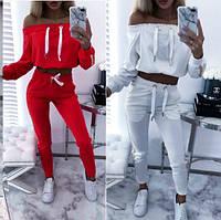 Женский спортивный костюм красный белый трикотаж