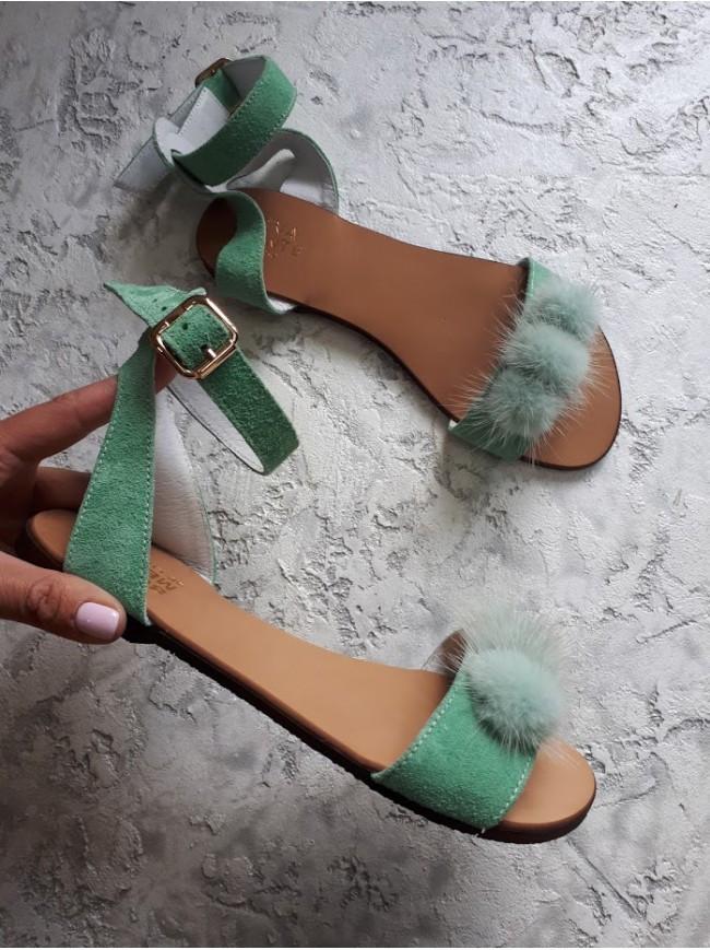 Женские сандалии из натуральной замши зеленого цвета VISONE LAVENDER