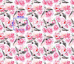 """Ткань хлопковая """"Ласточки и розы"""" розовые на белом (№2216), фото 3"""