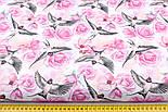"""Ткань хлопковая """"Ласточки и розы"""" розовые на белом (№2216), фото 2"""
